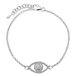 Sterling Silver Moonstone and 1/4ct TDW Diamond Evil Eye Bracelet (J-K, I2-I3)