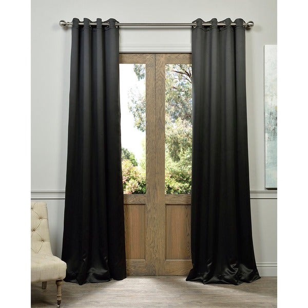 Exclusive Fabrics Jet Black Grommet Thermal Blackout Curtain Panel Pair