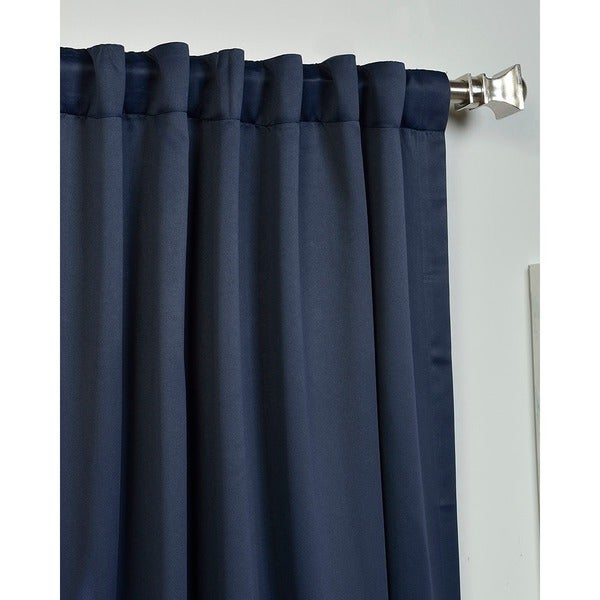 Exclusive Fabrics Navy Blue Thermal Blackout Curtain Panel Pair   Free  Shipping Today   Overstock.com   13960349