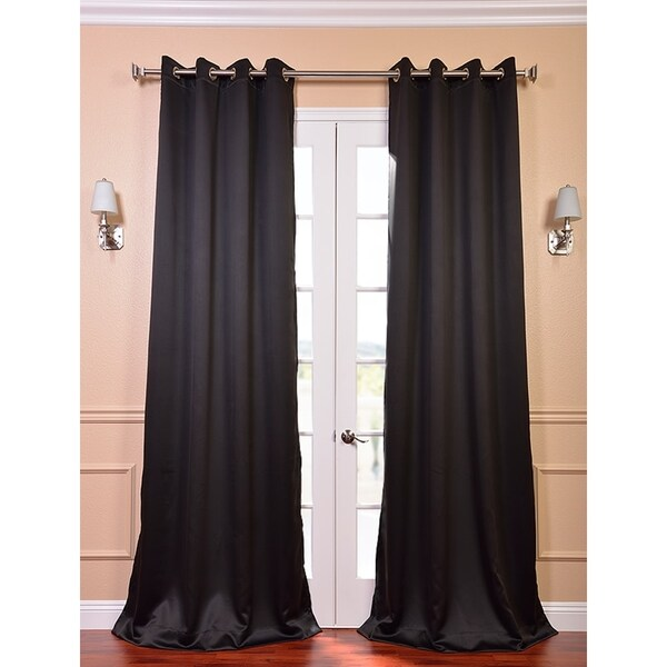 Exclusive Fabrics Jet Black Thermal Blackout 120-inch Curtain Panel Pair