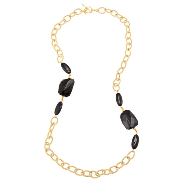 Zoe B 14k Gold over Sterling Silver Onyx and Silk Link Necklace