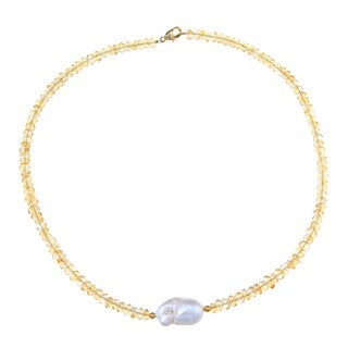 DaVonna 14k Gold over Sterling Silver White Freshwater Pearl Citrine 16-inch Necklace (12 - 13mm)
