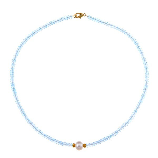 14K Gold Over Sterling Silver White Freshwater Pearl Blue Topaz Necklace (9-10 mm)