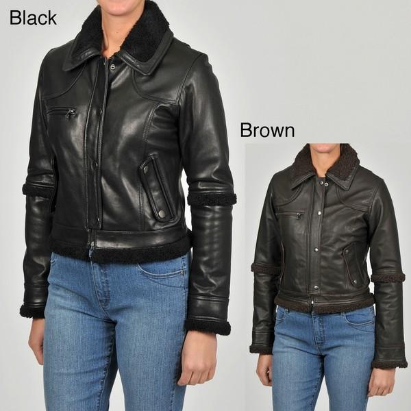 Knoles & Carter Women's Sherpa-sleeve Short Leather Jacket