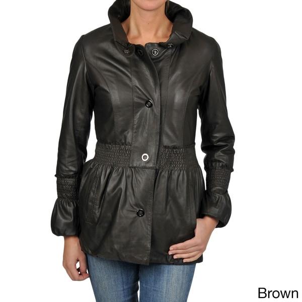 Knoles & Carter Women's 3/4-length Puff Collar Smocked Jacket