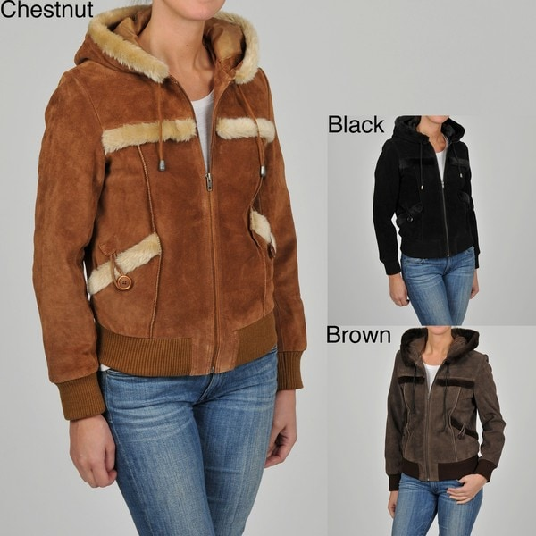 Knoles & Carter Women's Suede Sherpa Trimmed Hooded Bomber Jacket