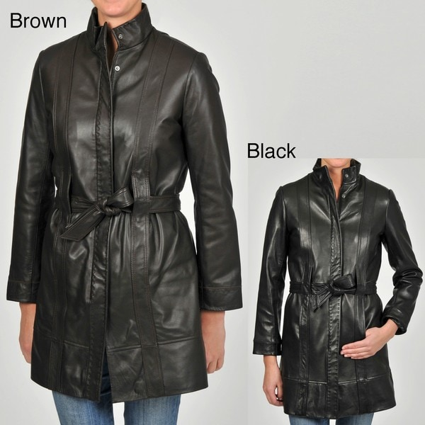 Knoles & Carter Women's Belted Leather Jacket