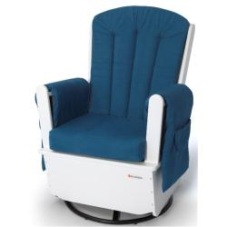 Foundations SafeRocker SS Swivel Glider Rocker in White & Blue