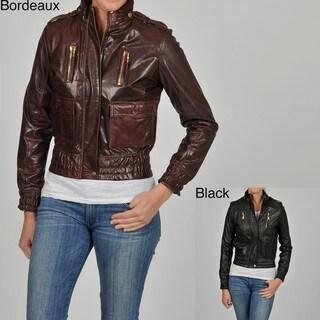 Knoles & Carter Women's ZigZag Placket Pleated Leather Jacket
