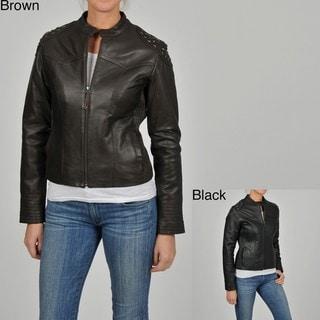 Knoles & Carter Women's Short Scuba Star Studded Leather Jacket