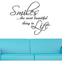 Vinyl 'Smiles...The Most Beautiful Thing in Life' Wall Decal
