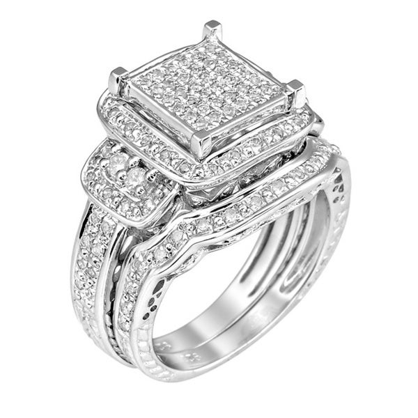 Sterling Silver 3/4ct TDW White Diamond Halo Ring