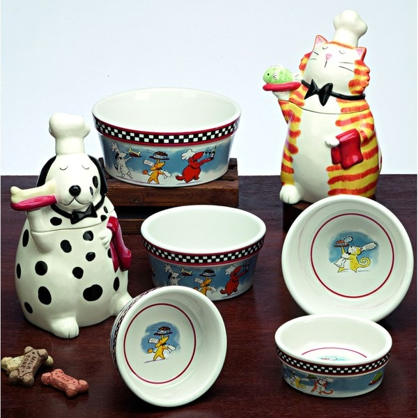 "Snoozer Large ""Bone Appetite"" Dog Bowls and Jars by Tina Ledbetter"