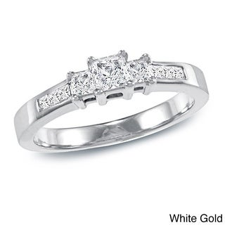 Auriya 14k Gold 1/2ct TDW Princess-Cut Diamond Engagement Ring
