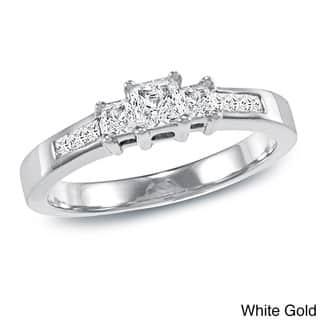 Auriya 14k Gold 1/2ct TDW Princess-Cut Diamond Engagement Ring|https://ak1.ostkcdn.com/images/products/6338131/P13960727.jpg?impolicy=medium