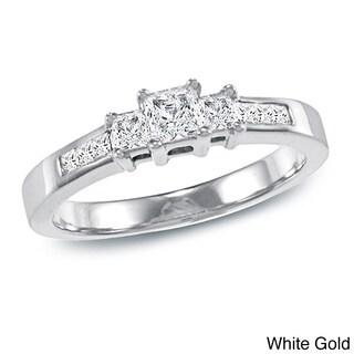 Auriya 14k Gold 1/2ct TDW Princess-Cut Diamond Engagement Ring (Option: Yellow)