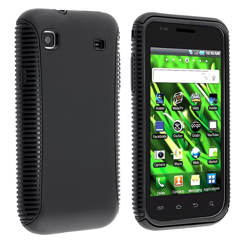INSTEN Black/ Black Hybrid Phone Case Cover for Samsung Vibrant T959 Cell Phone