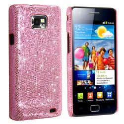 INSTEN Hot Pink Bling Rear Snap-on Phone Case Cover for Samsung Galaxy S II i9100