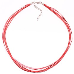 Bleek2Sheek Red Organza and Leather Necklace Cord (Set of 2)