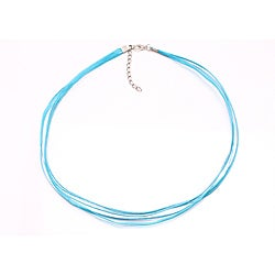 Bleek2Sheek Aqua Blue Organza and Leather Necklace Cord (Set of 2)