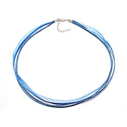 Handmade Bleek2Sheek Blue Silver-lined Organza and Leather Necklace Cord (Set of 2) (United States)