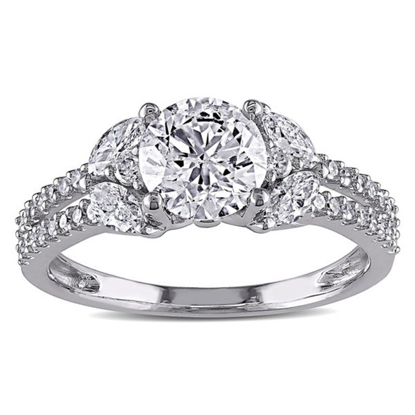 Miadora Signature Collection 14k White Gold 1 1/2ct TDW IGL-certified Vintage Diamond Ring (G-H, I1-I2)