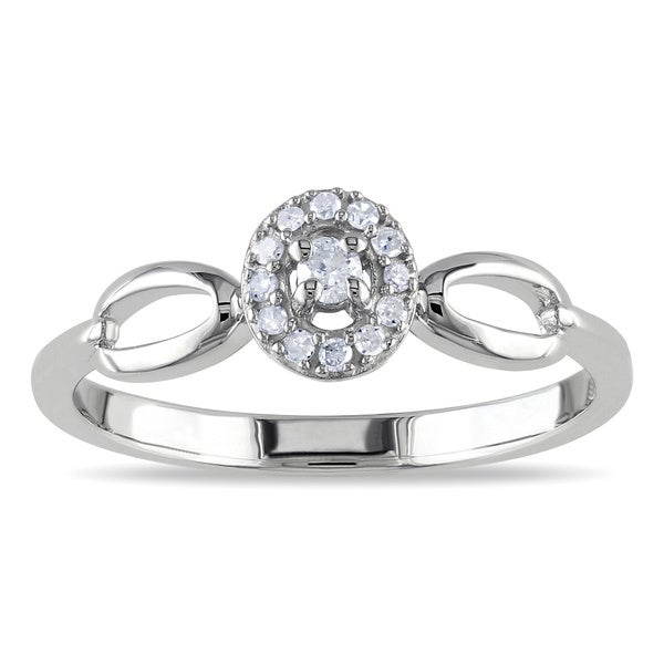 Miadora Sterling Silver 1/10ct TDW Oval Diamond Promise Ring (G-H, I2)