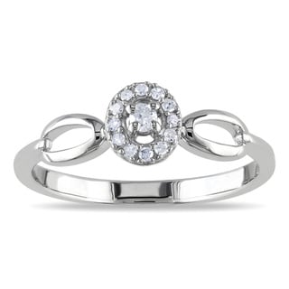 Miadora Sterling Silver 1/10ct TDW Oval Diamond Promise Ring