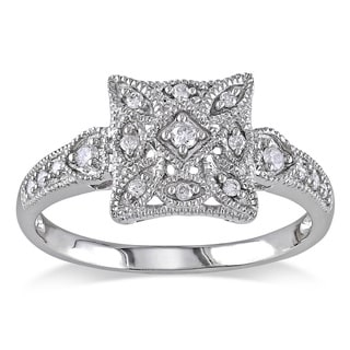 Miadora 10k White Gold 1/7ct TDW Diamond Square Shape Art Deco Style Vintage Ring