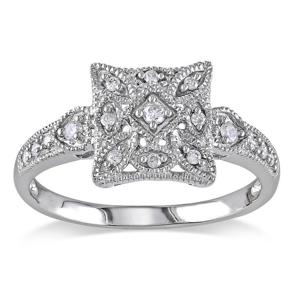 Miadora 10k White Gold 1/7ct TDW Diamond Square Shape Art Deco Style Vintage Ring (G-H, I2-I3)