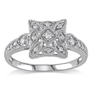 Miadora 10k White Gold 1/7ct TDW Diamond Square Shape Art Deco Style Vintage Ring|https://ak1.ostkcdn.com/images/products/6338230/P13960793.jpg?impolicy=medium