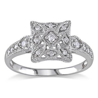 Miadora 10k White Gold 1/7ct TDW Diamond Square Shape Art Deco Style Vintage Ring
