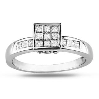 Miadora 10k White Gold 1/2ct TDW White Diamond Ring
