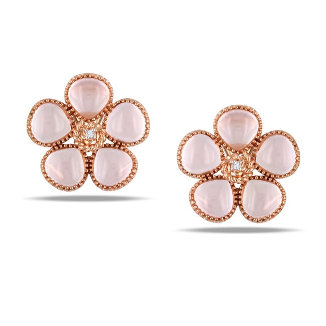 Miadora Pink Silver 12 1/2ct TGW Rose Quartz and Diamond Earrings