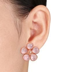 Miadora Pink Silver 12 1/2ct TGW Rose Quartz and Diamond Earrings - Thumbnail 2