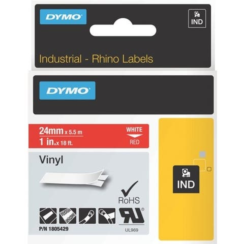 Dymo White on Red Color Coded Label