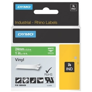 Dymo White on Green Color Coded Label