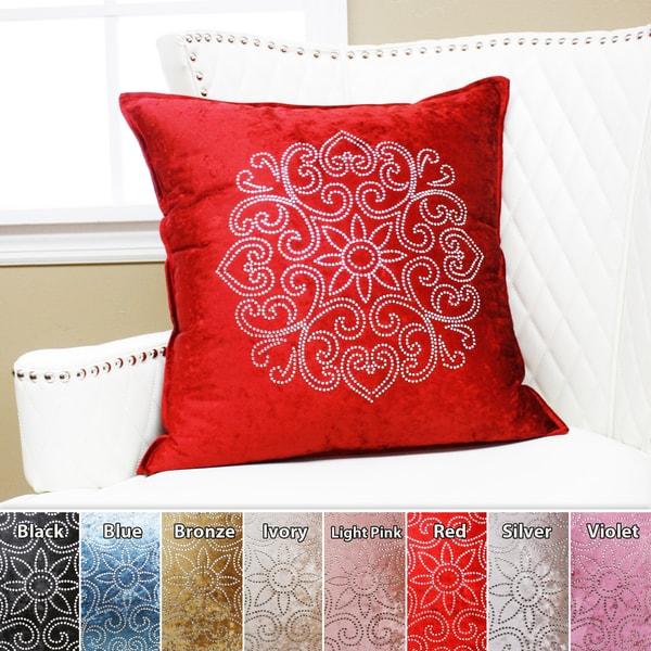 Aurora Home Henna Rhinestone Stud Velvet Pillow 19 x 19 (Set of 2)