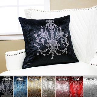 Aurora Home Chandeliers Rhinestone Stud Velvet Pillow 19 x 19 (Set of 2)