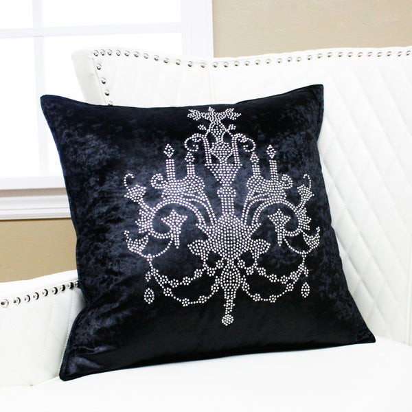 Aurora Home Chandeliers Rhinestone Stud Velvet Pillow 19 x 19 (Set of 2)