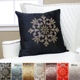 Aurora Home Golden Snowflake Rhinestone Stud Velvet Pillow 19 x 19 (Set of 2)