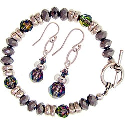 Misha Curtis Metallic Crystal Rainbow Bracelet and Earring Set