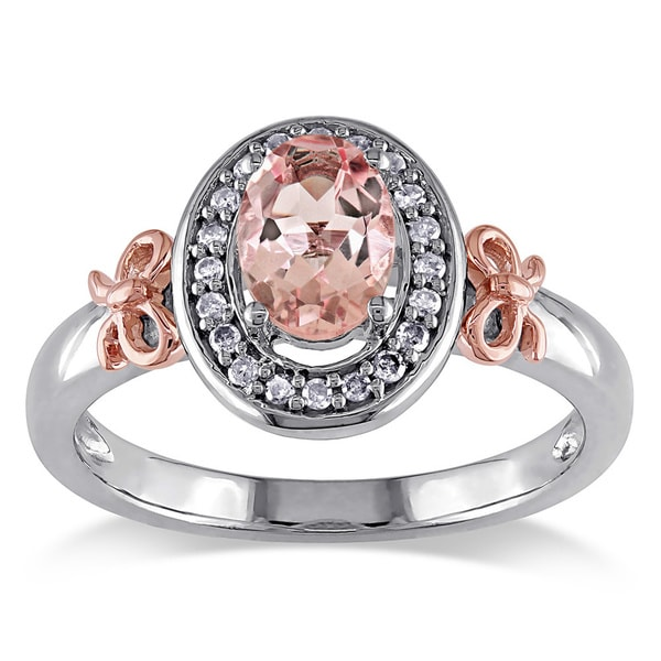 Miadora Silver and 14k Pink Gold Morganite and 1/10ct TDW Diamond Ring (G-H, I2-3)