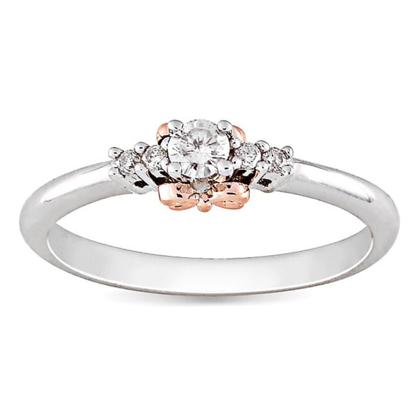 14k Gold/Silver Rose Accent Diamond Ring