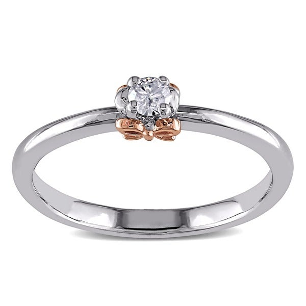 14K Gold/ Silver Rose Accent Diamond Promise Ring