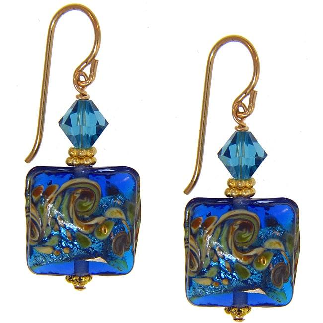 Misha Curtis 14K gold filled earrings,Ocean Blue Hand Blown Glass Earrings