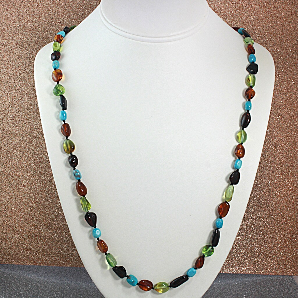 Handtied MultiColor Baltic Amber And Turquoise Nuggets Necklace (Lithuania)