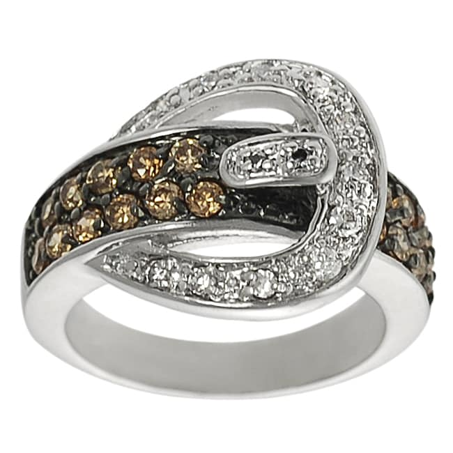 Journee Collection Silvertone Orange and White Round-cut CZ Buckle Ring