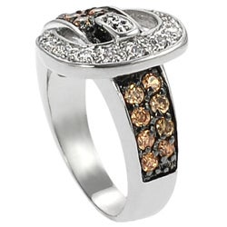 Journee Collection Silvertone Orange and White Round-cut CZ Buckle Ring - Thumbnail 1