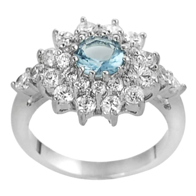 Journee Collection Silvertone White and Blue CZ Flower Ring